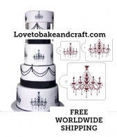 Chandelier cake stencil, cake stencil, Wedding cake stencil, cake decorating stencil, Free worldwide shipping (1) (2) (4)